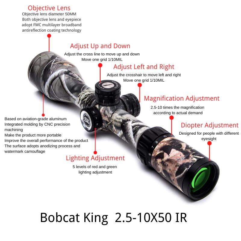 Bobcat King 2.5-10X50 IR Riflescope Best Budget Hunting Rifle Scope 7